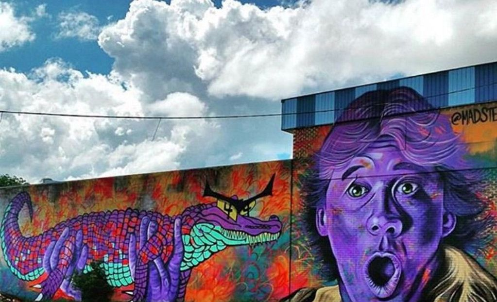 The mural piece on Neil St of Steve Irwin, painted by American artist Mark Paul Deren in 2015 for the First Coat Festival in Toowoomba.