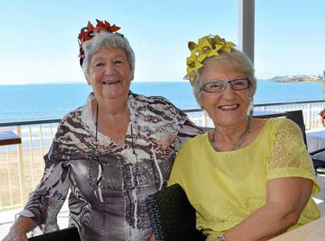 Liz Bergstrom and Carmel Watson at the Yeppoon Lioness Club's Biggest Morning Tea at the Yeppoon Surf Life Saving Club with the spectacular view of the ocean.