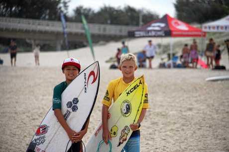 BYRON DUO: Byron Bay Boardriders Touma Cameron and Duke Wrencher.