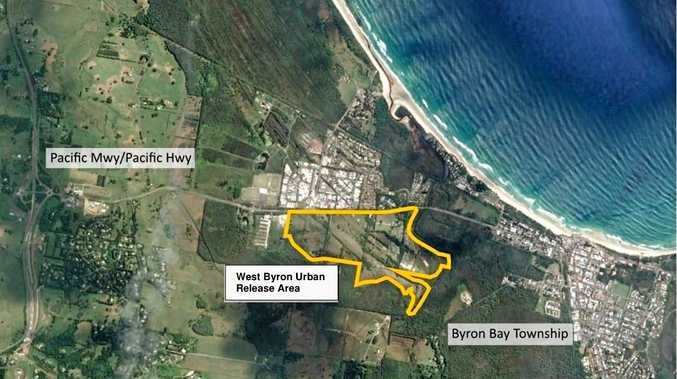 NEW SUBURB: A map showing the total area rezoned in 2014 to make way for a massive new housing estate on Byron Bay's western fringe.