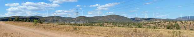 A panorama view of the proposed wind farm at Clarke Creek 150km south west of Mackay and 150km north west of Rockhampton.