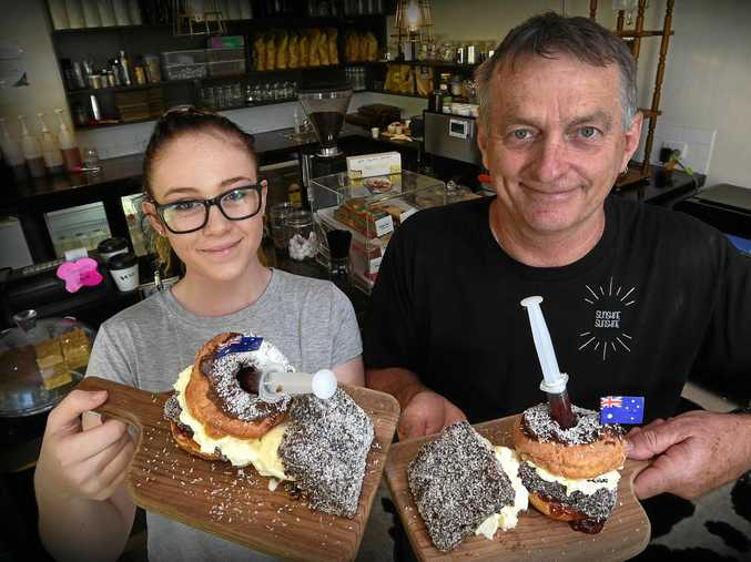 YUM: Mackenzie Jayde-Highes and owner Don Campbell from Sunshine Sunshine Espresso are making a lamington, doughnut concoction for Australia Day.