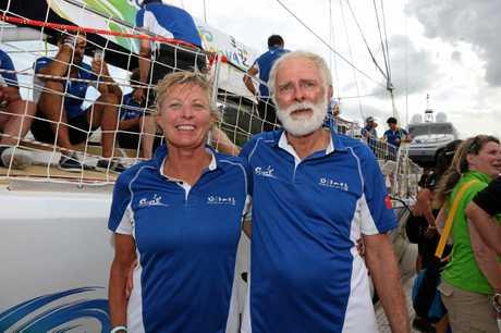 Sanya Serenity Coast skipper Wendy Tuckwith local Whitsunday crew member Nigel 'Jack' Pemberton.