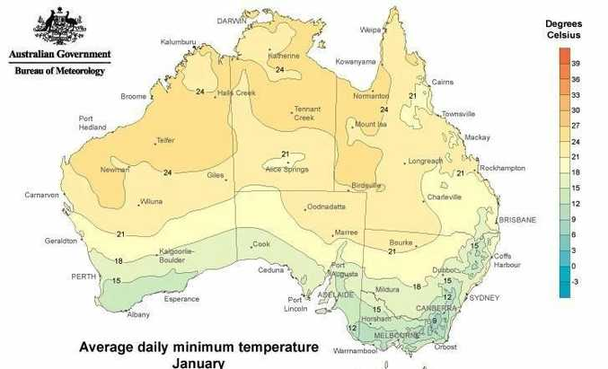 Minimum temperatures are well below the January average in Ipswich.