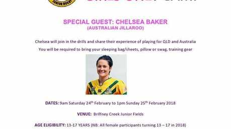 Gladstone Junior Rugby League 'Girls Only' camp featuring Jillaroo Chelsea Baker.