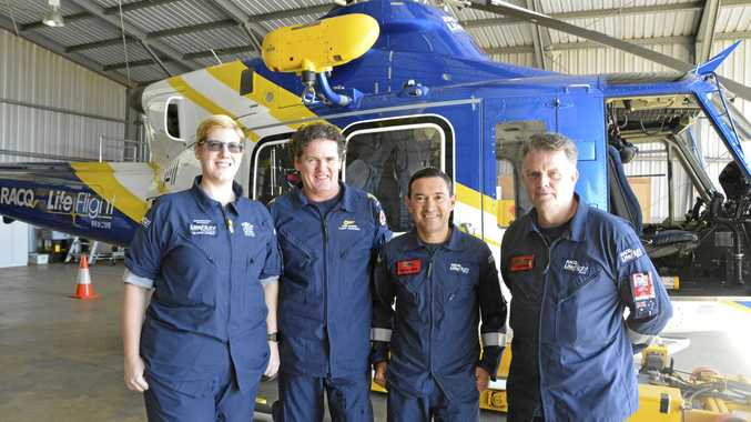 BUSY BASE: RACQ LifeFlight Toowoomba crew (from left) critical care Dr Fiona Stonley, critical care paramedic Greg Reaburn, air crew officer Eddie Balarezo and pilot Jan Steen.