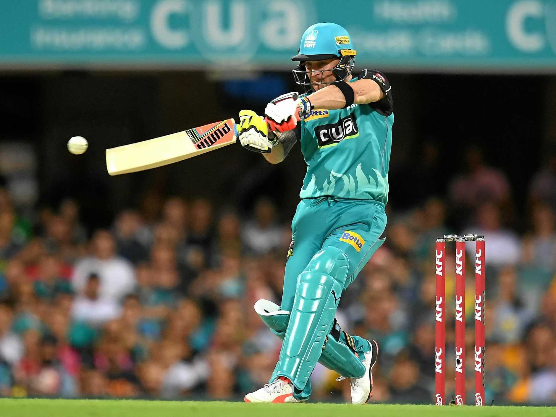 Brisbane Heat player Brendon McCullum plays a shot  during the Big Bash League (BBL) T20 semi-final match between the Brisbane Heat and  Sydney Sixers at the Gabba in Brisbane, Wednesday, Jan. 25, 2017. (AAP Image/Dave Hunt) NO ARCHIVING, EDITORIAL USE ONLY, IMAGES TO BE USED FOR NEWS REPORTING PURPOSES ONLY, NO COMMERCIAL USE WHATSOEVER, NO USE IN BOOKS WITHOUT PRIOR WRITTEN CONSENT FROM AAP