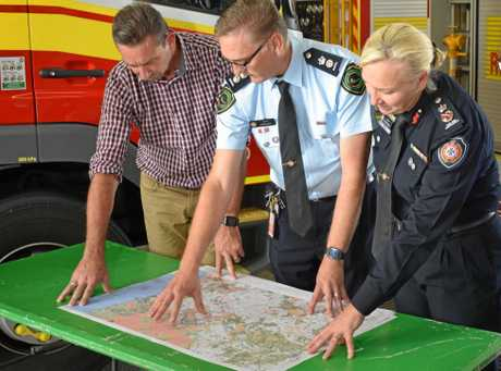 Minister for Fire and Emergency Services Craig Crawford (left), Inspector Craig Magick, QFES Commissioner Katarina Carroll and Rockhampton MP Barry O'Rourke are preparing for a busy Summer preparing for bushfires.