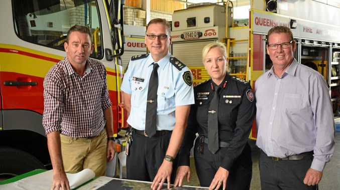 GETTING READY: Minister for Fire and Emergency Services Craig Crawford (left), Acting Regional Manager Craig Magick Craig Magick, QFES Commissioner Katarina Carroll and Rockhampton MP Barry O'Rourke.