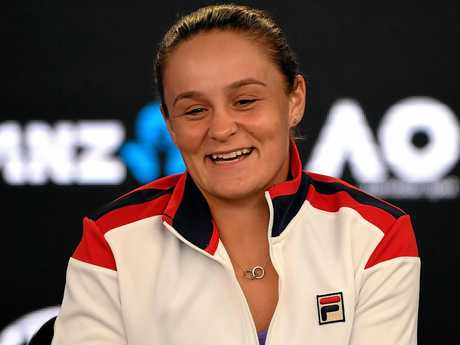 Ashleigh Barty talks to the press at the Australian Open.
