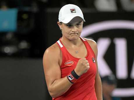 Ashleigh Barty reacts during her win against Aryna Sabalenka.