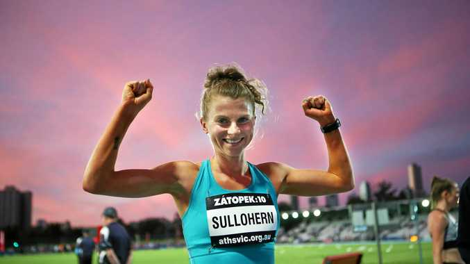 Celia Sullohern reacts after winning the Zatopek Womens 10,000m race at the 57th edition of Zatopek athletic championships at Lakeside Stadium in Melbourne, Thursday, December 14, 2017. (AAP Image/David Crosling) NO ARCHIVING, EDITORIAL USE ONLY