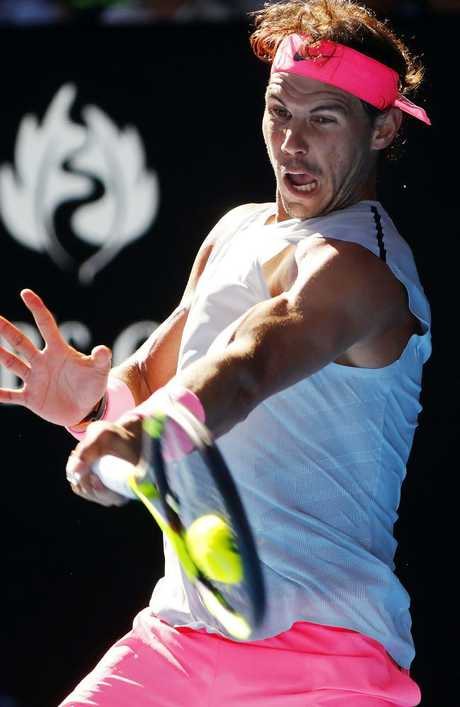 Rafael Nadal charges into the third round. Picture: Michael Klein