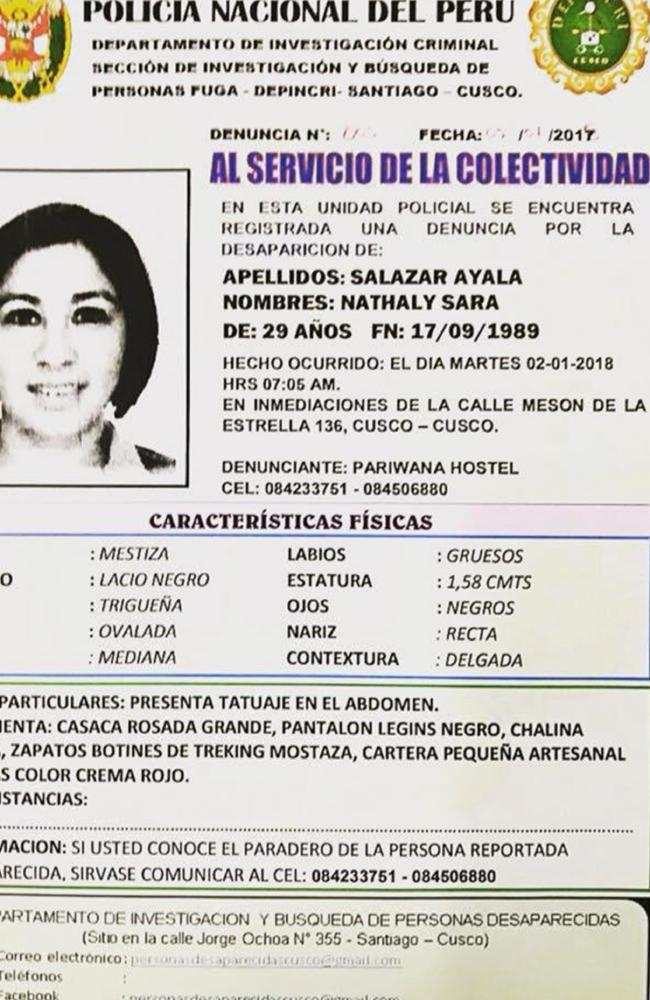 A poster from Peru's national police detailing the disappearance of Nathaly Salazar. Picture: CEN/Australscope