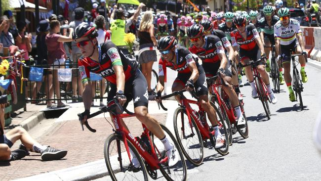 Richie Porte sits tucked in among his BMC teammates on Stage 1 of the Tour Down Under on Tuesday. Will BMC hit back today? Picture Sarah Reed