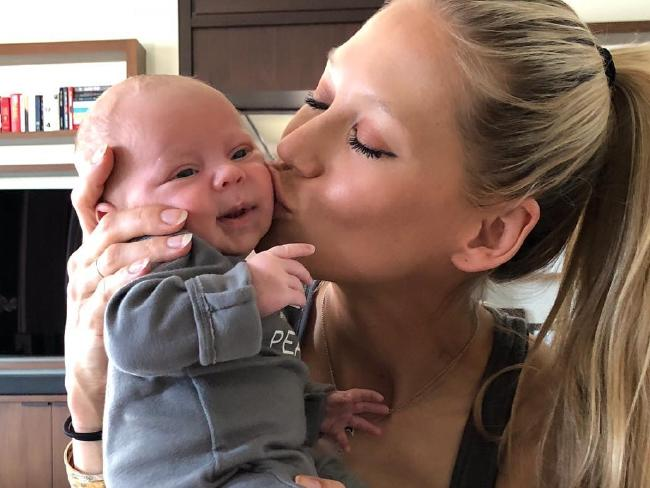 'My Sunshine'. Anna Kournikova cradles one of her newborn twins. Picture: Instagram