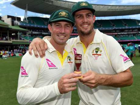 Shaun Marsh (L) was snapped smoking during celebrations in Sydney's East.