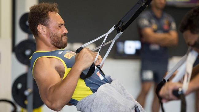 Sam Tagataese training in the Broncos new gymnasium.