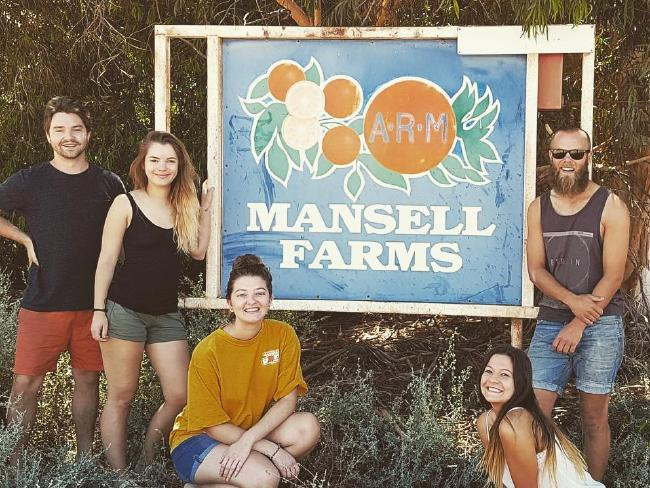 Amelia (third from left) with friends she had been picking fruit with. Picture: Instagram