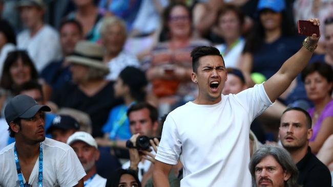 The man interrupts the second-round match between Nick Kyrgios and Viktor Troicki. Pic: Getty Images