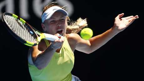 Wozniacki fought back from the brink against Jana Fett. Picture: Michael Klein