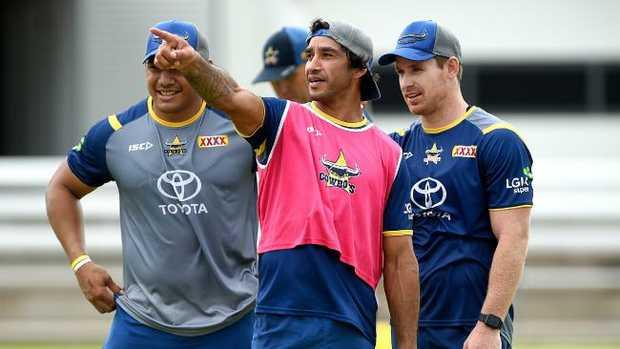 North Queensland Cowboys pre-season training. Jason Taumalolo, Johnathan Thurston and Michael Morgan. Picture: Alix Sweeney
