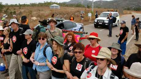 19/09/2017 Anti-Adani protesters block the Abbot Point coal terminal access road in Bowen. Source: FrontLine Action On Coat (FLAC)