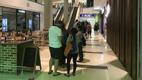 The queue outside the Aldi store in Chatswood.