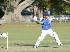Harwood wicket-keeper Matt Farrell launches into an