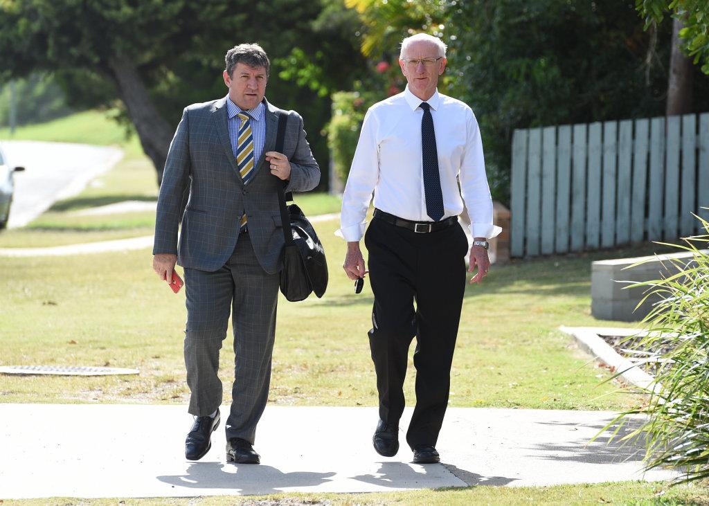 Fraser Coast Regional Council mayor (R) Chris Loft arrives at Hervey Bay court with his lawyer Angelo Vernados.