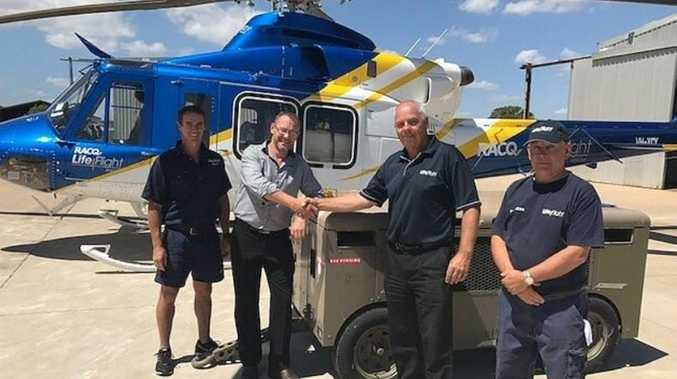 (From left) Matt Free, Tilly's General Manager, Lance Hinrichsen, LifeFlight's Engineering Operations Manager, Michael Dopking and Mike Smit