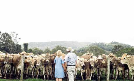 Joe and Noelene Bradley on their dairy farm in Dayboro.