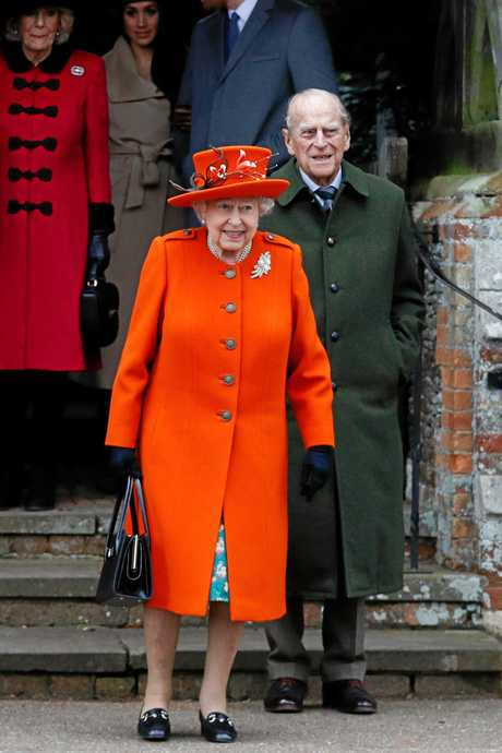Queen Elizabeth II Prince Philip, Duke of Edinburgh outside St Mary Magdalene Church in Sandringham.