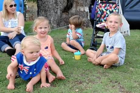 Lucia, Isla and Oliver Bobson with Flynn Liljegren at the Australia Day Family Fun afternoon.