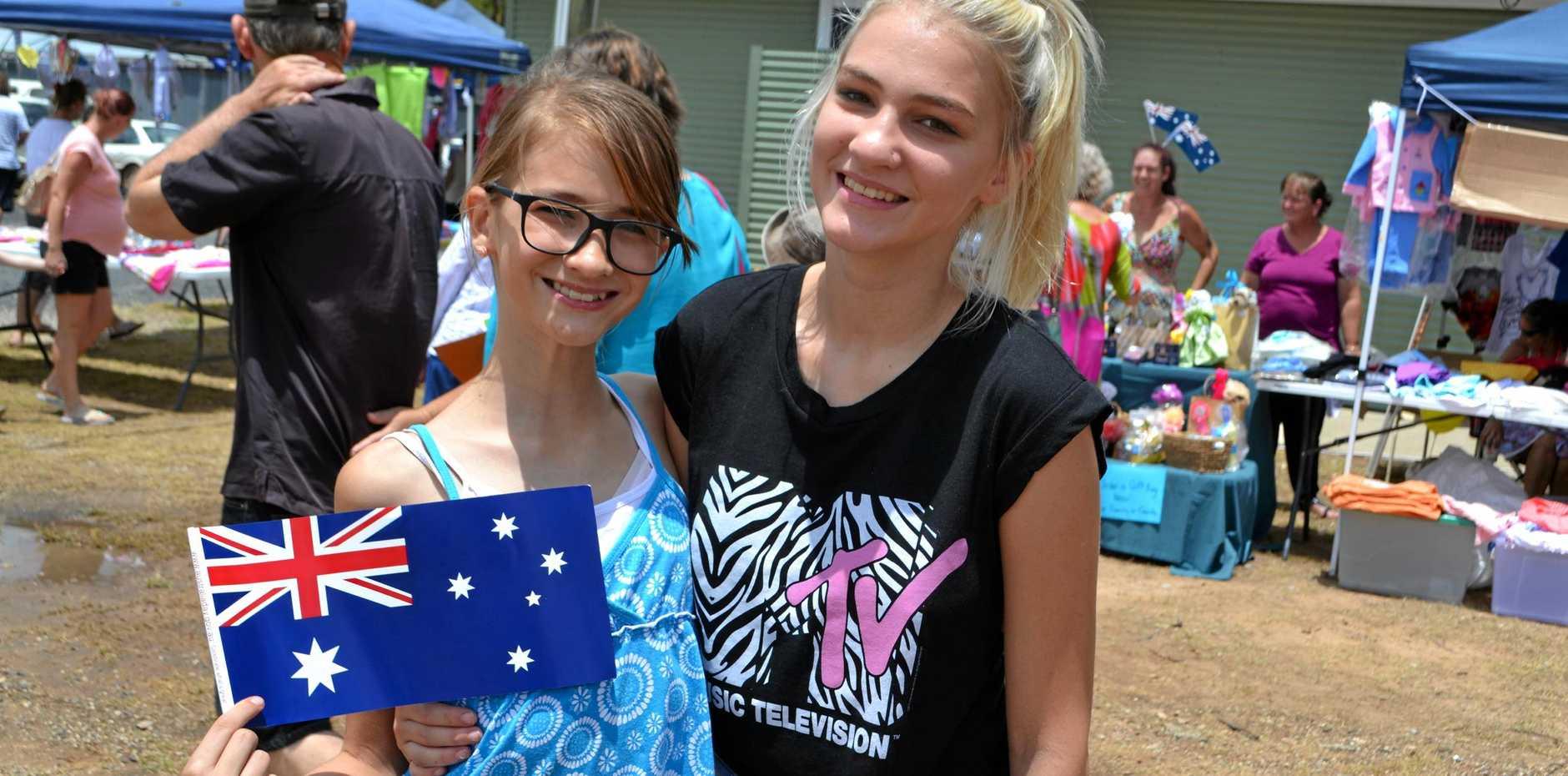 AUSTRALIA DAY: Angelina and Clarisa Beraru celebrate in style in Tara last year.