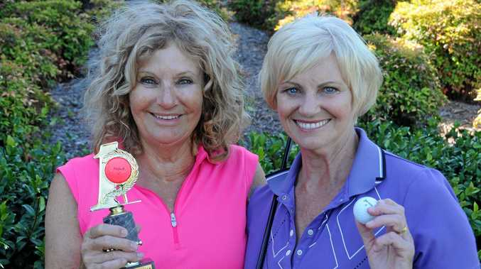 TEE OFF: Carole Dyas has reduced her handicap to 35 since joining the SWING program with coordinator Laurel Opray.