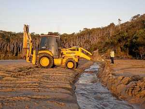 Channel dug to Woolgoolga Lake