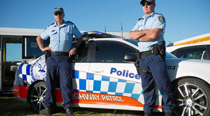 Coffs Harbour Traffic and Highway Patrol Supervisor Sergeant Jarrod Langan and Senior Constable Mark Whittaker.