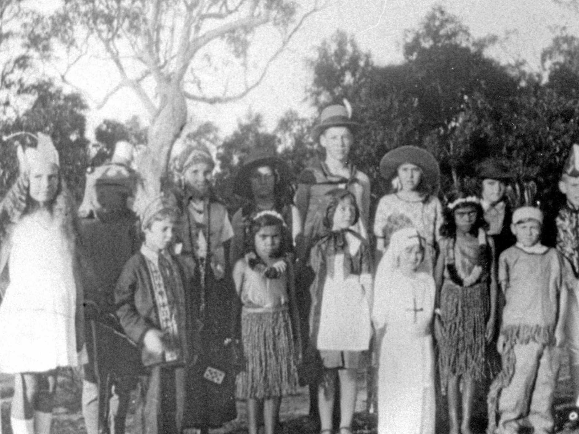 Caloundra Primary School students in fancy dress, in 1934.