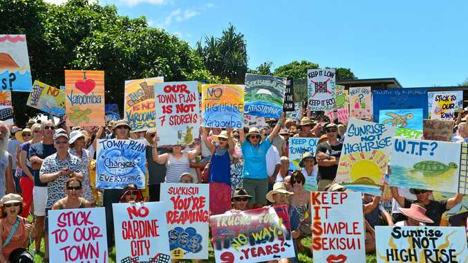 MORE than 600 protesters against the proposed Yaroomba Beach development turned out at Coolum's Tickle Park earlier this month.