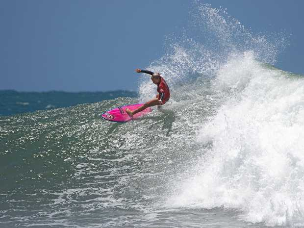 GIRL IN THE CURL: Talented Lennox Head surfer Nxyie Ryan took out the U14 Girls National GromSearch title at Sandon Point, Wollongong, making it her third in a row.