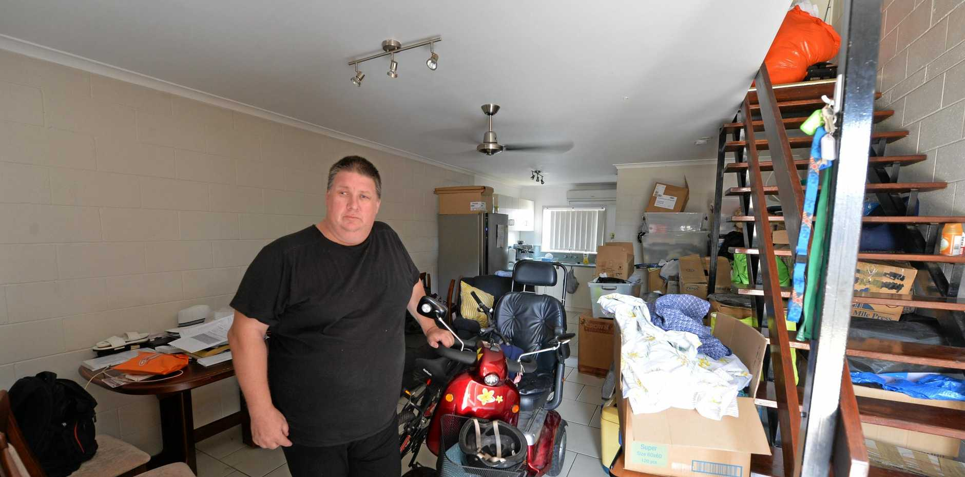 Alex Verbyla in his Byron St, East Mackay home, faces uncertainty over housing.