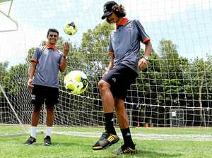 YOUNG GUNS: Makhaya Quakawoot (left) and Jayden Salam practising at Magpies on Thursday.