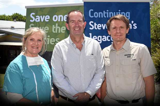 A six-figure federal grant for the upgrade of the Australia Zoo Wildlife Hospital has been announced by Federal Member for Fisher Andrew Wallace (centre), pictured with Australia Zoo Hospital managing director Rosemary Booth and Australia Zoo director Wes Mannion.