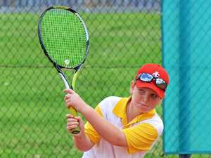BACKHAND: Jacob Stenzel, 10, at a recent Hot Shots clinic at George Alder Tennis Centre.