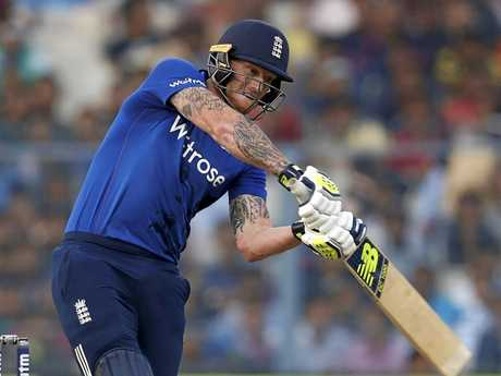 Ben Stokes hits out for England during a limited-overs match.