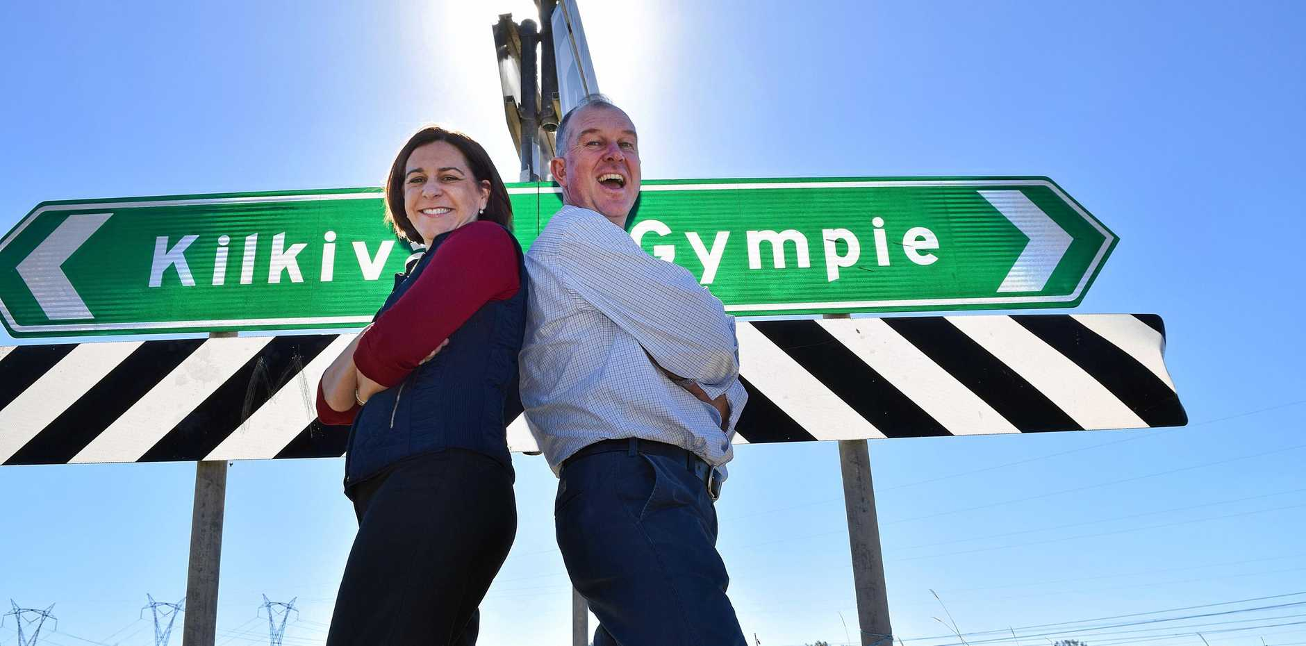 Opposition Leader Deb Frecklington with Gympie MP Tony Perrett at the point where their electorates meet. Mr Perrett is accused of going