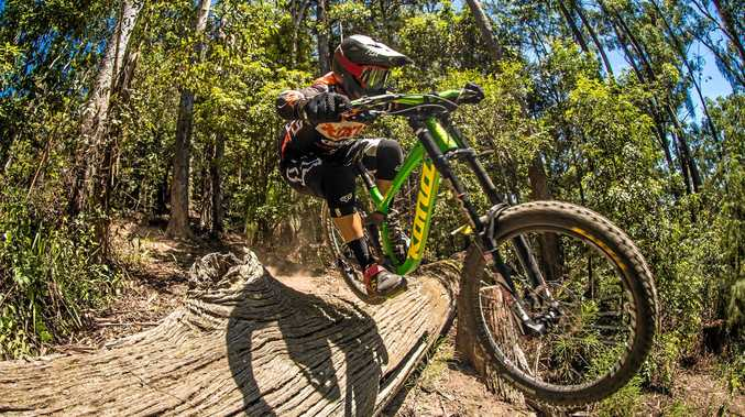 GUNNING IT: Josh Button will be in action in the first round of the MTBA Downhill National Series at Mt Coramba.