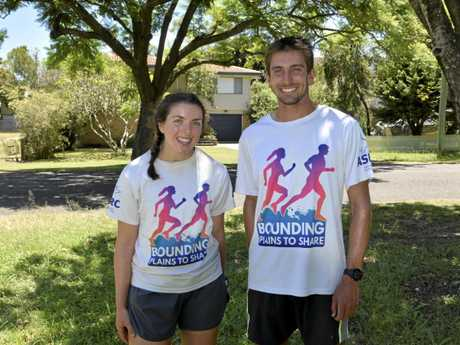 ON THE RUN: Cassie Cohen and Jackson Bursill stopped at Grafton on their way to Footscray from Cooktown as part of their 4000km Bounding Plains to Share run.