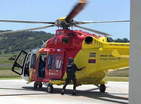 The Westpac Life Saver Rescue Helicopter was on standby after reports that a young swimming was missing in the surf at Fingal Head.